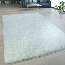 Tapis Salon Poils Longs Lavable Shaggy Aspect Flokati Uni Blanc
