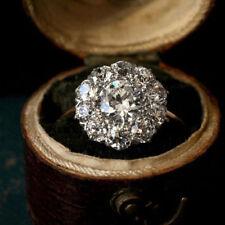 10K Yellow Gold 2.38 Ct Round Sim Diamond Flower Style Cluster Engagement Ring