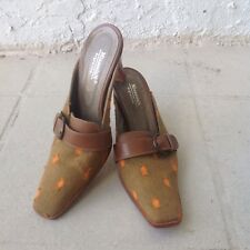 Minassian Mules Shoes 6.5 Argentina Pointy Toe Heels Brown Orange Slip On Womens