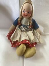 14� Antique Lenci Cloth (?) Linen Doll Dutch Girl Hand Painted Face Doll