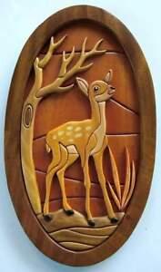 100% Natural Handmade Crafted Mahogany Wall Hanging Plaque Deer Sri Lanka