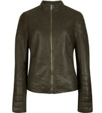 TED BAKER ELSHA Quilted Arm Leather Jacket  Green Sz: 1 ted US 4