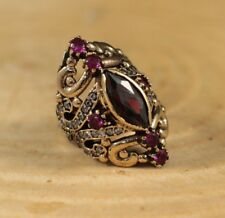 TURKISH HANDMADE STERLING SILVER 925K AND BRONZ RUBY RING SIZE 6,7,8,9