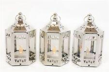 Silver LED Battery Chrome Effect Hanging Candle Tea Light lantern Wedding Favour