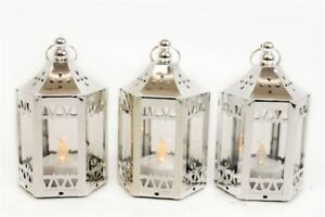 Silver LED Battery Chrome Effect Hanging Candle Tea Light lantern Wedding Favour