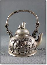 ZIER-TEEKANNE, Tibet Silber, China, Schachspieler, 11 cm, Löwe [C26442]