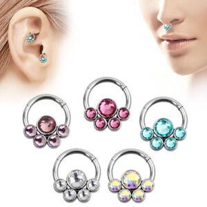 Flower CZ Crystal Nose Ring Septum Clicker Hinge Segment Ear Tragus Hoop Earring