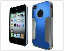 Chrome Aluminum Hard Case for iPhone 4 / 4S - Silver/Blue