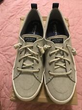 New Sperry Canvas Sneakers Crest Vibe Washed Linen Gray MEMORY FOAM Size 11