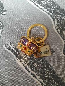 Harrods keyring Metal purple Crown Union jack gold tone