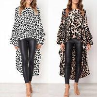 Women'S Irregular Leopard Print Long Sleeve   Long Tops Tunic T Shirt Dress JR