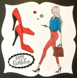 Handmade By Susie Girlie / Lady & Shoes Birthday Card Topper FLAT RATE UK P&P