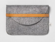 Hearth & Hand With Magnolia Heather Gray Felt and Leather Clutch Bag