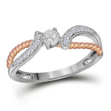 10k Two-tone Gold Womens Round Diamond Rose-tone Rope Band Ring 1/10 Cttw