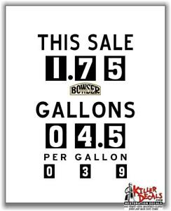 """(FACE-102-2) 16""""X13"""" BOWSER MAKE YOUR OWN GAS PUMP - FACE STICKER DECAL GASOLINE"""