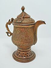 Antique Copper Tea Kettle Pot Original Old Hand Crafted Fine Engraved Kashmiri
