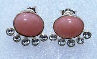 pink opal ,white topaz gemstone earrings women silver fine jewelry 925 sterling