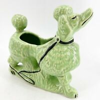 Vintage McCoy Pottery Green Snooty Poodle Dog Planter MCM Mid Century Modern