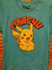 Pokemon Pikachu Kids T-Shirt Girls Blue Yellow Nintendo Anime Mighty Fine