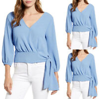 Womens Plain V-Neck Ruched High Waist Blouse Casual Baggy 3/4 Sleeve T-Shirt Top