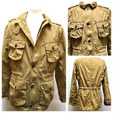 H&M Men's Camel Cotton/ lined safari Cargo Military Jacket Button down Zip MED