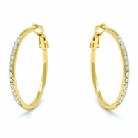 Small Pave Hoop Earrings with White Round Crystals from Swarovski Gold Plated
