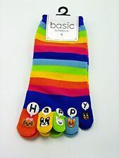 Happy Dogs Tabbi Five Toe Socks Dark Pastel Stripe Women Size 6-11 Pup Fashion