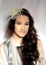 Cream Net Flower and Feather Fascinator on a slim Hair band Headband Headpiece