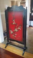"""Antique Fireplace Screen Rotating Hand Painted 45"""" x 24"""