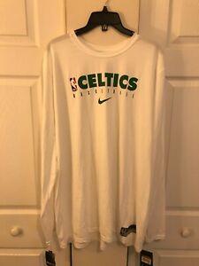 Nike Boston Celtics NBA Dri-Fit Long Sleeve Shirt White CD2660-100 Mens XXL Tall