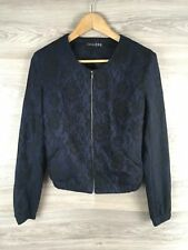 ATMOSPHERE BLACK Navy Lace Overlay Bomber Jacket VGC Size 10 2858