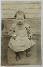 Rppc Darling Lucille in her Homespun Calico Dress Sitting on Crate Postcard N10