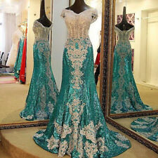 Gorgeous Sequins Formal Pageant Prom Dress Applique Evening Party Wedding Gown