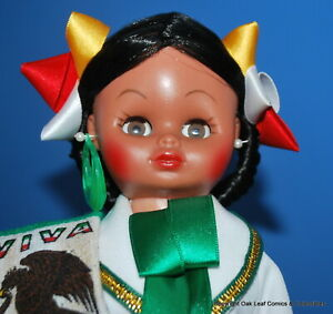 """14"""" Vintage Spanish Mexican Dolly Doll Made in Mexico Vinyl. With Hat Very Nice!"""
