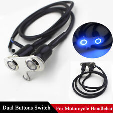 CNC Motorcycle Handlebar Switch Headlight Fog Light Dual Buttons Blue LED IP65