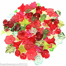 50g LUCITE FLOWER & LEAF BEAD MIX Roses Trumpet Lily Flower RED & GREEN XMAS MIX