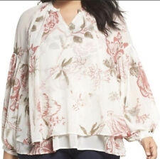 New With Tags Lucky Brand Jenna Floral Tiered Hem Blouse 3X Boho Bohemian Fall