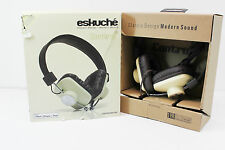 GENTLY USED Eskuche Control V2 Headphones Brown/Cream 3 Button Mic Control