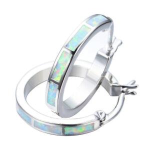 Beautiful Silver Circle White simulated Opal Hoop Earrings Women'S Wedding