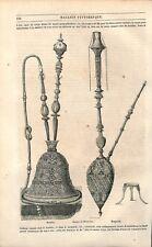 Houkka Narguileh Kalioun Pipe à eau chicha Narguilé ghelyan Tabac GRAVURE 1851