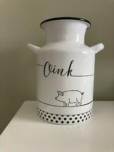 """Hobby Lobby Metal Utensil Holder WHITE PIG """"Oink"""" Milk Can"""