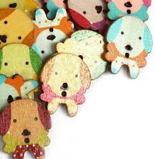 50 Stück Holzknöpfe 25x30mm 2 Löcher Hund Mix Farben Nähen Basteln Kleidung