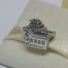 New Authentic Pandora charm Cruise Ship All Aboard 791043 Bead W Tag & Suede Pou