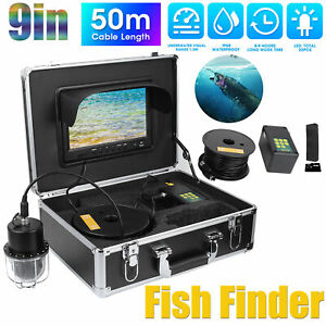 """9"""" LCD DVR Video Underwater Camera Fish Finder 20LEDS 360° Waterproof +50m Cable"""
