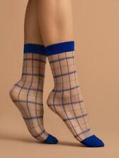 WOMEN'S LADY'S BLUE GEOMETRIC PLAID PATTERNED 15 DEN POP SOCKS ANKLE SOCKS