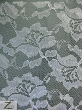 """ROSE/FLOWER FLORAL LACE FABRIC - White - 54""""  WIDTH ORGANZA MESH"""