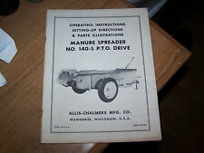 VINTAGE ALLIS CHALMERS MANURE SPREADER MANUAL MODEL NO. 140-S PTO DRIVE