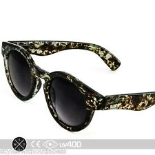 Green Swirl Vintage Fashion Bold Circle Round Sunglasses Keyhole Bridge S180
