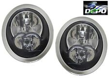 2005-2008 Mini Cooper Black Head Lights with Chrome Bezel OE Style DEPO