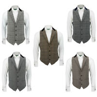 Mens Velvet Collar Grey Brown Herringbone Tweed Check Slim Fit Vintage Waistcoat